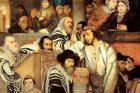 Židé modlící se v synagoze při svátku Jom kipur. Olej na plátně, Maurycy Gottlieb (1856–1879), Muzeum umění v Tel Avivu.