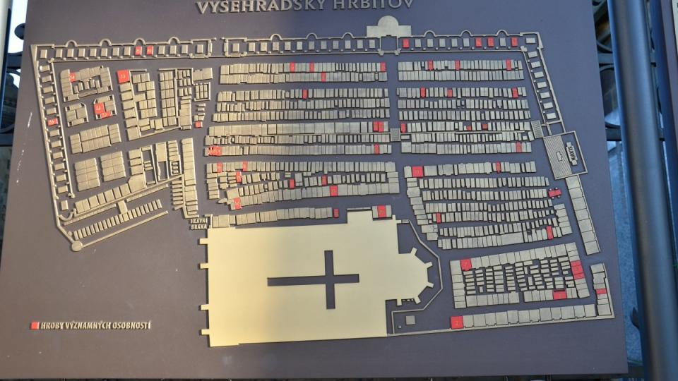 Plán Vyšehradského hřbitova se Slavínem