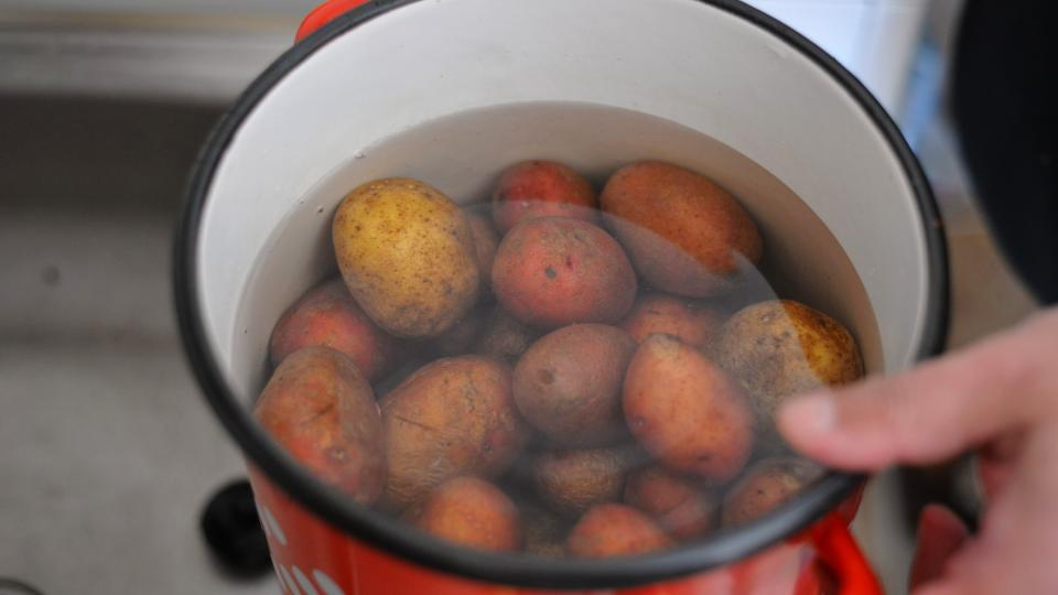 Brambory uvaříme ve slupce v neosolené vodě