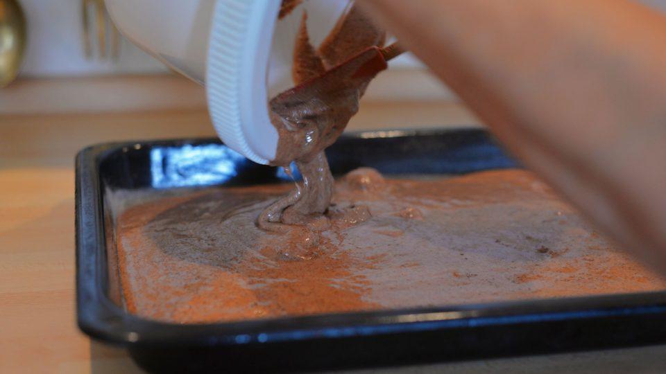 Plech na pečení vymastíme sádlem nebo máslem, posypeme polohrubou moukou a nalijeme těsto
