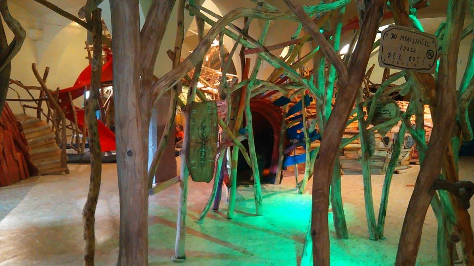 Písecké Mraveniště je plné různých vychytávek pro děti, prolézaček, včetně zvláštních vozítek ve tvaru mravence nebo mravenčích kostýmů