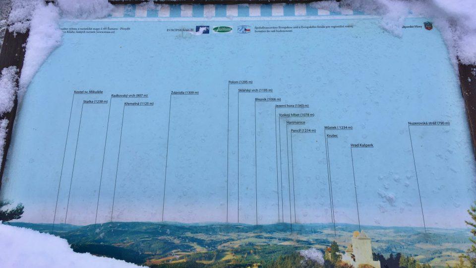 Panoramatický panel na Pustém hrádku